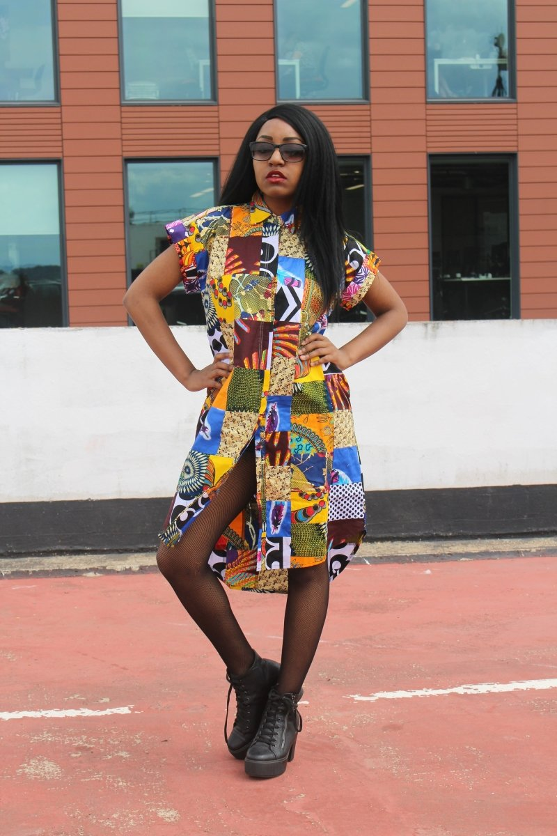 Patchwork Shirt Dress - Crazy Colourful Festival Dress - Continent Clothing