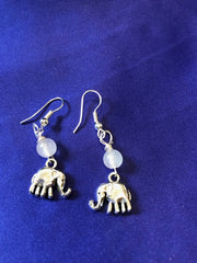 Silver Elephant Earrings with Clear Quartz Bead - Continent Clothing