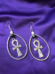 Statement Silver Earrings with Ankh Charm - Continent Clothing