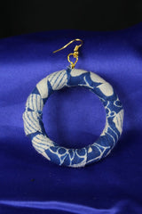 Subtle Blue African Print Earrings - Continent Clothing