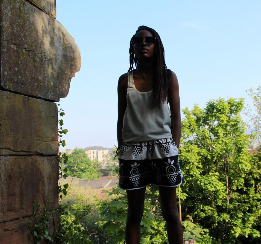 African Shorts in black and white