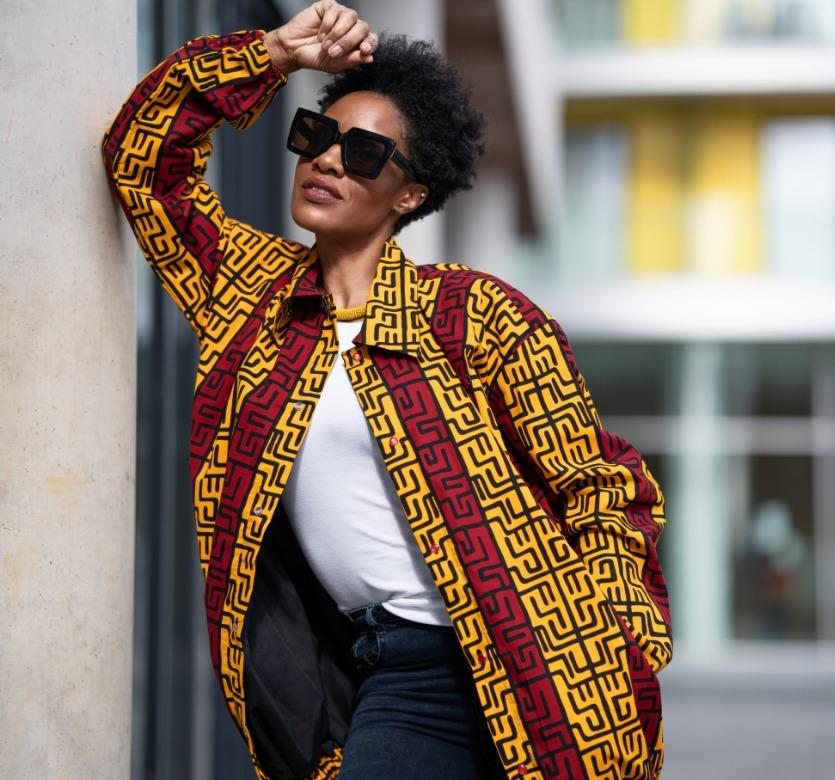 African Puffer Jacket In Red & Orange