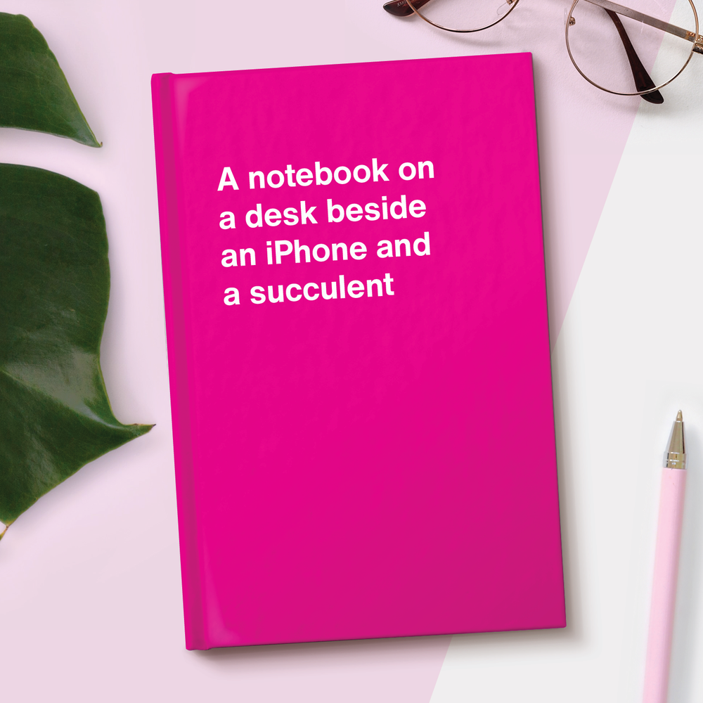 A notebook on a desk beside an iPhone and a succulent