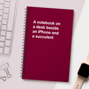WTF Notebooks | A notebook on a desk beside an iPhone and a succulent
