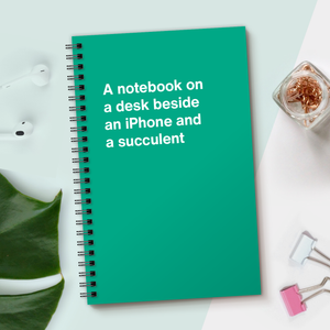 Load image into Gallery viewer, WTF Notebooks | A notebook on a desk beside an iPhone and a succulent
