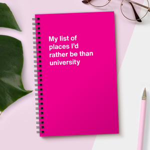 My list of places I'd rather be than university