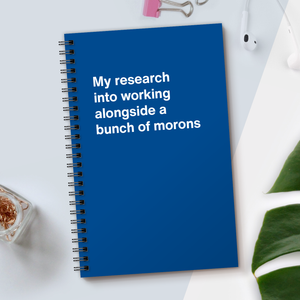 WTF Notebooks | My research into working alongside a bunch of morons