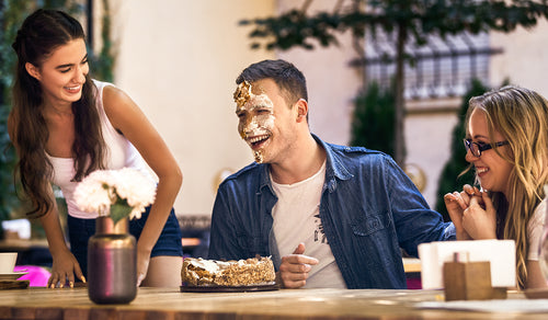 Friend gets head pushed in cake at birthday, funny and snarky birthday gift