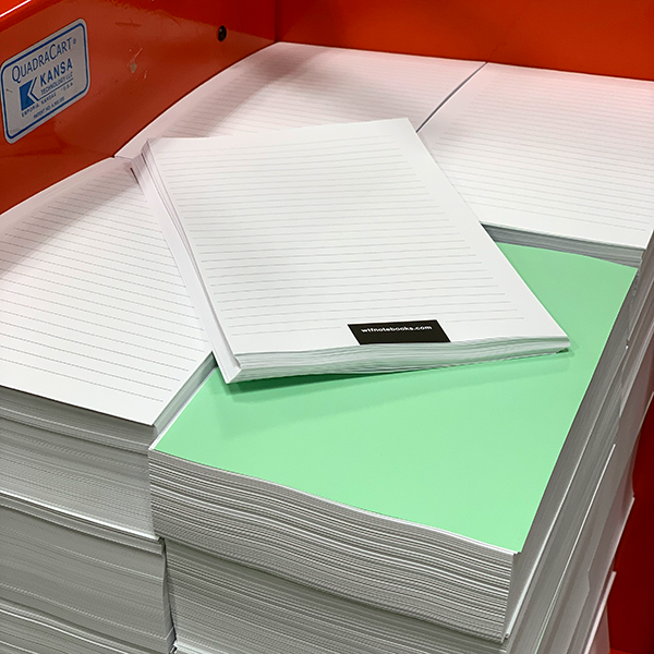 WTF Notebooks production USA: Pile of inside page paper