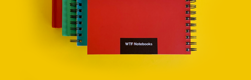 FAQ's about our funny inappropriate gift ideas: Pile of four WTF Notebooks