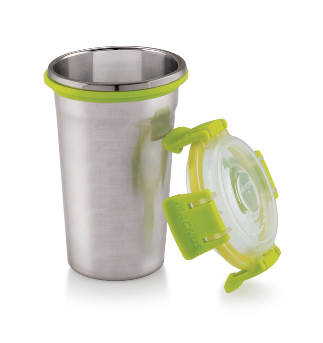 Magnus Stainless Steel Glass - Drinking Cups with Lid & Clip Lock. 100% Spill Proof Tumblers for Adults, Kids and Toddlers - Eco-Friendly BPA-Free