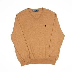 Ralph Lauren Sweater V-Neck Taupe - Amsterdam Vintage Clothing