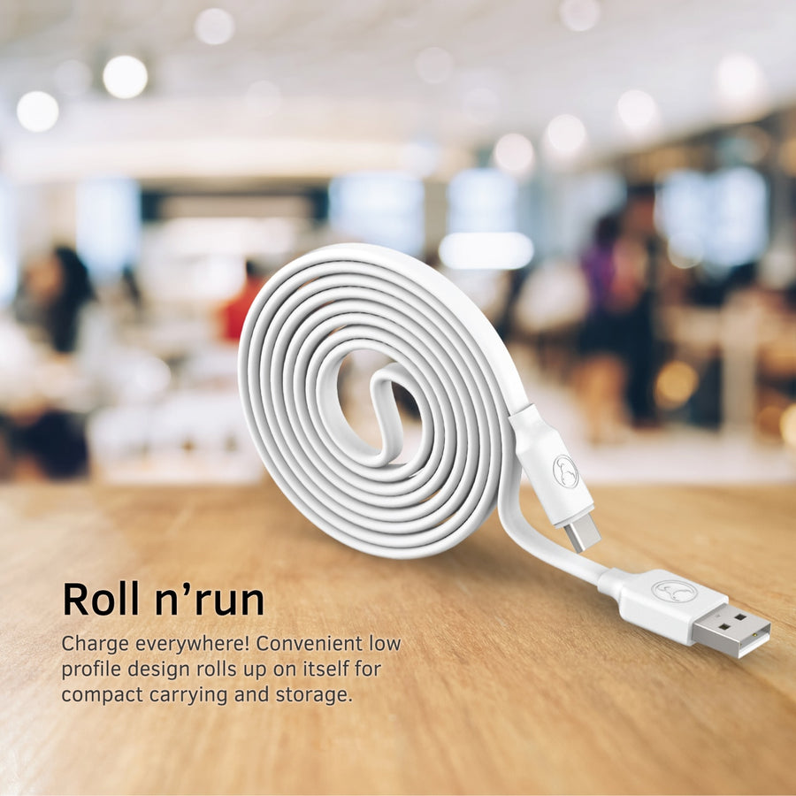 Bonelk USB to USB-C Cable, Flat Series, White - 1m
