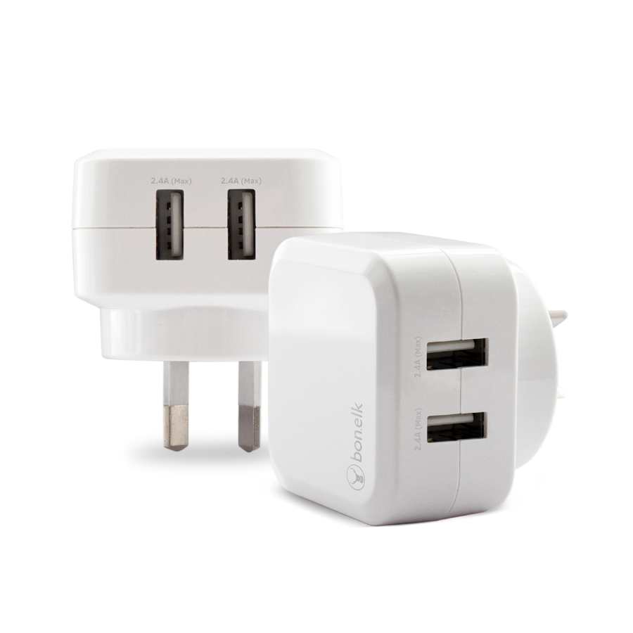 Bonelk AC Wall Charger (3.4A, 2 x USB Ports) (White)