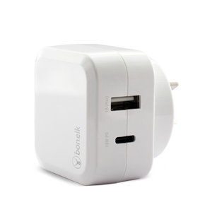 Bonelk AC Wall Charger (18W PD, 1 x USB-C / 1 x USB Port) (White)