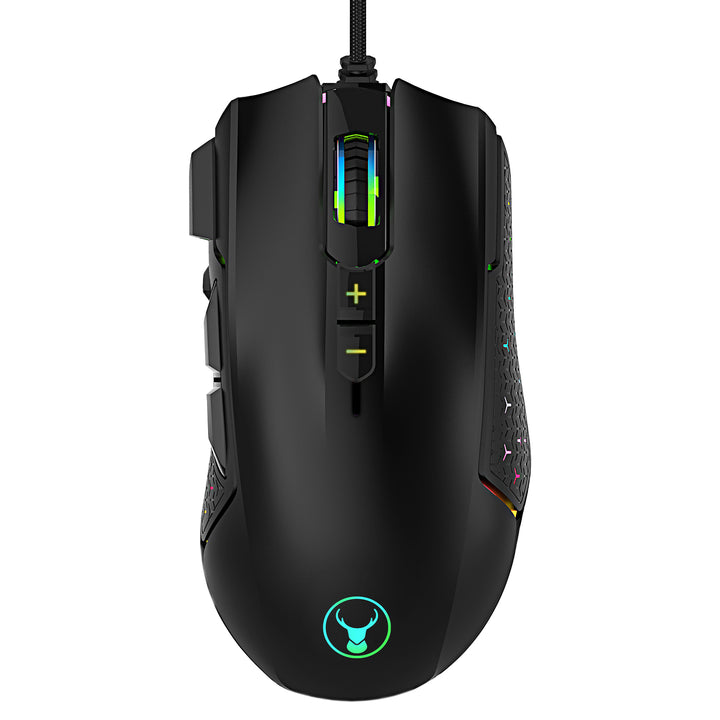 Bonelk Gaming RGB 8D Mouse, USB, 1600 to 12000 DPI, X-847T - Black