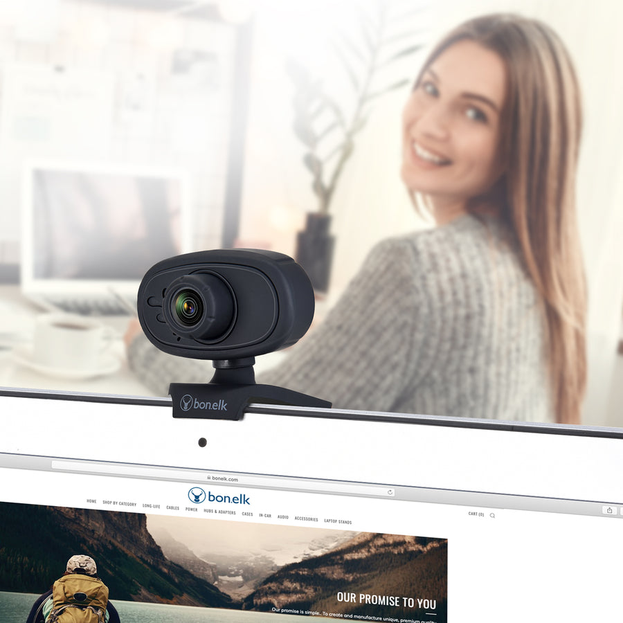 Bonelk USB Webcam, Clip On, 720p - Black