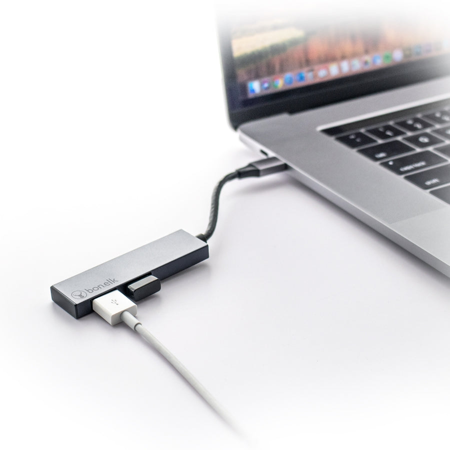 Bonelk USB-C to 2 Port USB-A 3.0 Slim Hub (Space Grey)