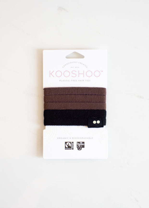KOOSHOO Organic Hair Ties - Black/Brown