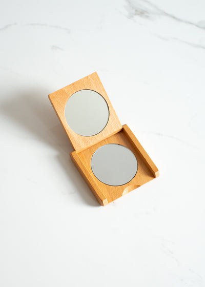 Beechwood Pocket Folding Mirror