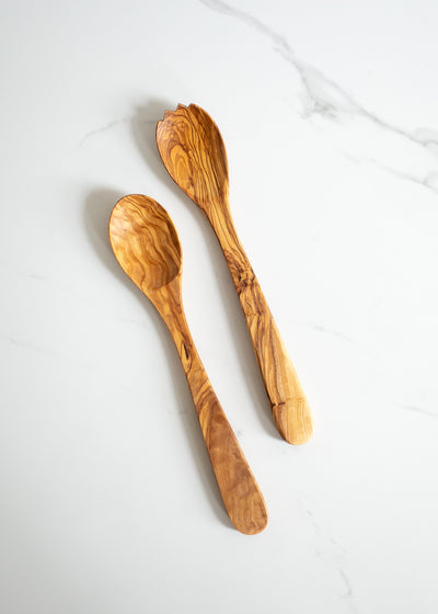 Olive Wood Salad Server Set