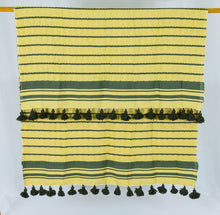 Load image into Gallery viewer, Wool Design Blanket: Yellow with Olive Green Stripes and Olive Green Pom Poms