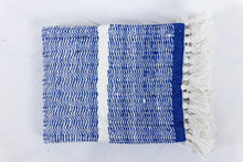 Load image into Gallery viewer, Wool Design Blanket: Blue and White with White Tassels