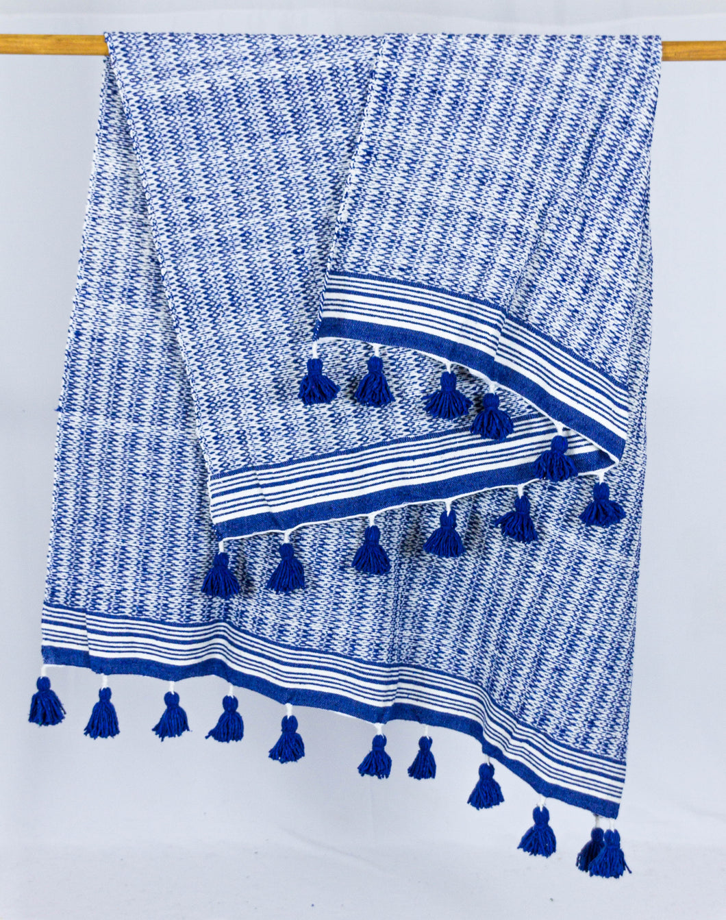 Wool Design Blanket: Blue and White with Blue Pom Poms