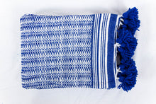 Load image into Gallery viewer, Wool Design Blanket: Blue and White with Blue Pom Poms