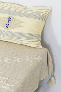 Embroidered Throw: Beige with Cream Diamond Patterns and Cream Pom Poms