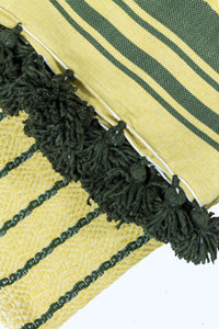 Wool Design Blanket: Yellow with Olive Green Stripes and Olive Green Pom Poms