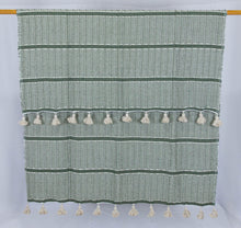 Load image into Gallery viewer, Wool Design Blanket: Olive Green with Cream Pom Poms