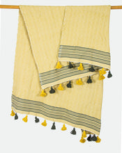 Load image into Gallery viewer, Wool Design Blanket: Light Yellow with Brown Stripes and Alternating Brown and Yellow Tassels