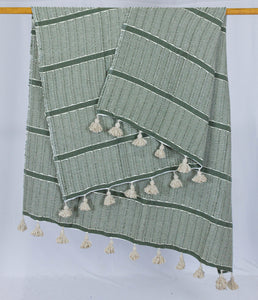 Wool Design Blanket: Olive Green with Cream Pom Poms