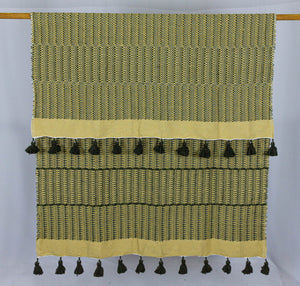 Wool Design Blanket: Mustard Yellow with Brown Stacked Design and Brown Pom Poms