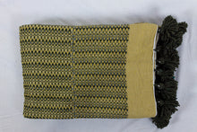 Load image into Gallery viewer, Wool Design Blanket: Mustard Yellow with Brown Stacked Design and Brown Pom Poms