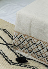 Load image into Gallery viewer, Embroidered Throw: Diamond Interlocking Embroidery with Pom Poms, various colors