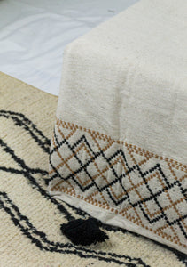 Embroidered Throw: Diamond Interlocking Embroidery with Pom Poms, various colors