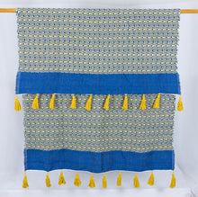 Load image into Gallery viewer, Wool Design Blanket: Blue and Mustard Yellow Design with Mustard Yellow Pom Poms/ Tassels