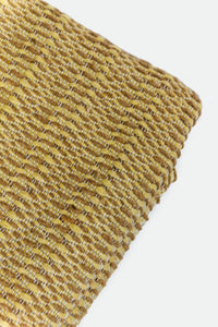 Wool Design Blanket: Pale Yellow with Brown with Brown Pom Poms