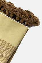 Load image into Gallery viewer, Wool Design Blanket: Pale Yellow with Brown with Brown Pom Poms