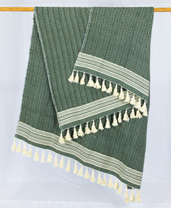 Wool Design Blanket: Olive Green with Cream Stripes and Cream Tassels