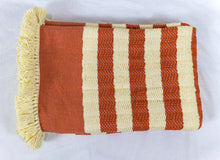 Load image into Gallery viewer, Wool Design Blanket: Orange with Cream Stripes and Cream Tassels