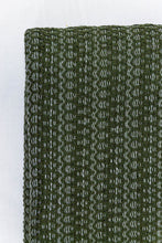 Load image into Gallery viewer, Wool Design Blanket: Olive Green with Cream Stripes and Cream Tassels