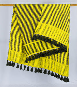 Wool Design Blanket: Yellow with Brown Stripes and Brown Tassels