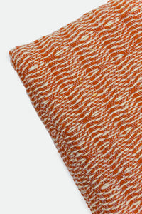 Wool Design Blanket: Orange with Solid Band and Cream Tassels or Pom Poms