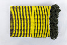 Load image into Gallery viewer, Wool Design Blanket: Yellow with Brown Stripes and Brown Tassels