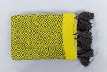 Load image into Gallery viewer, Wool Design Blanket: Yellow Pattern with Brown Tassels