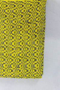 Wool Design Blanket: Yellow Pattern with Brown Tassels