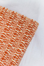 Load image into Gallery viewer, Wool Design Blanket: Orange with Solid Band and Cream Tassels or Pom Poms